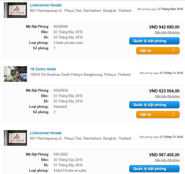 Giá tiền đặt phòng khách sạn ở Bangkok và Pattaya