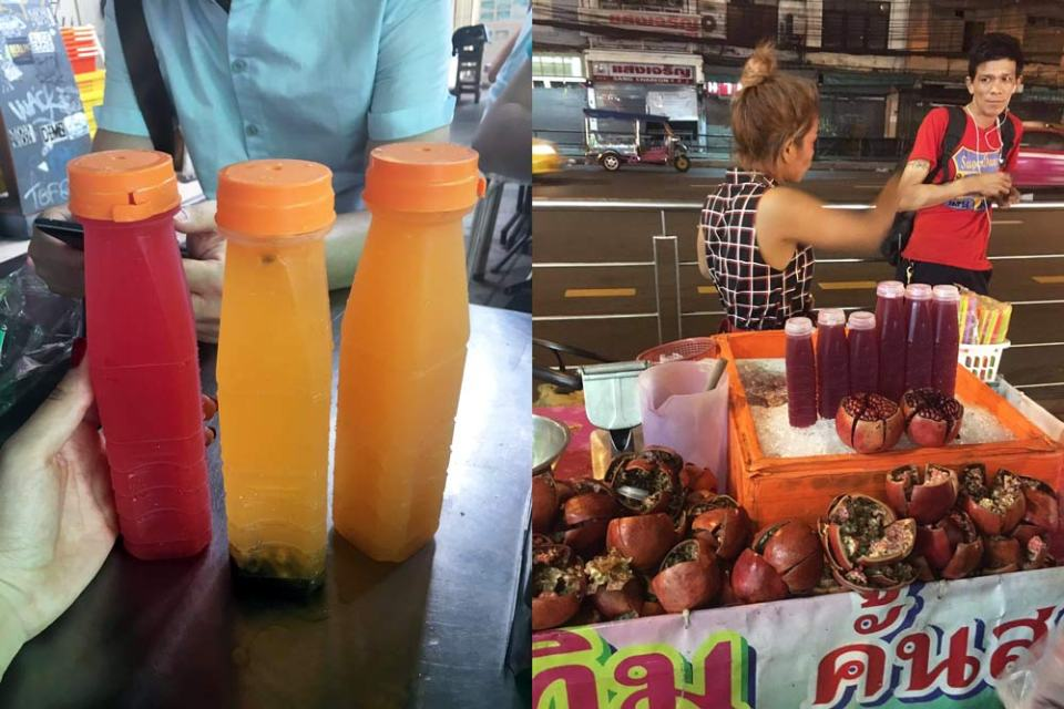 Các xe bán hoa quả ở khắp nơi, giá tầm từ 20 đến 40 bạt. Mình thích nước cam nhất. Uống chắc cả chục chai.