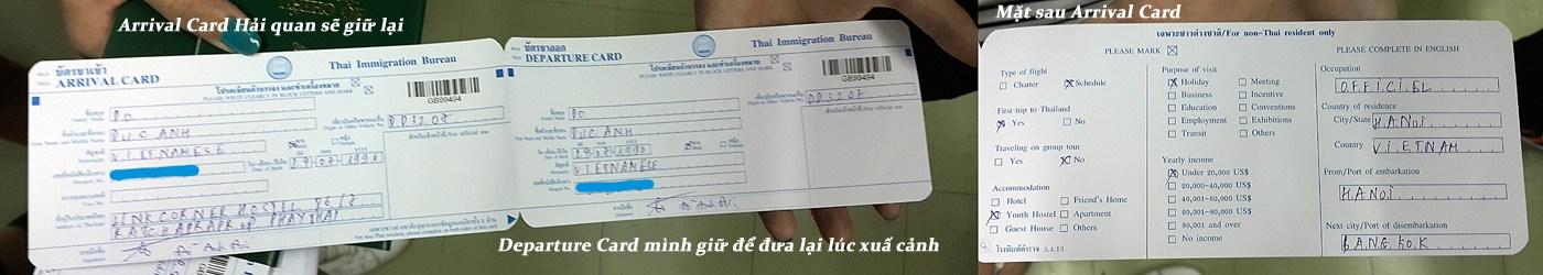Tờ khai nhập cảnh vào Thái Lan