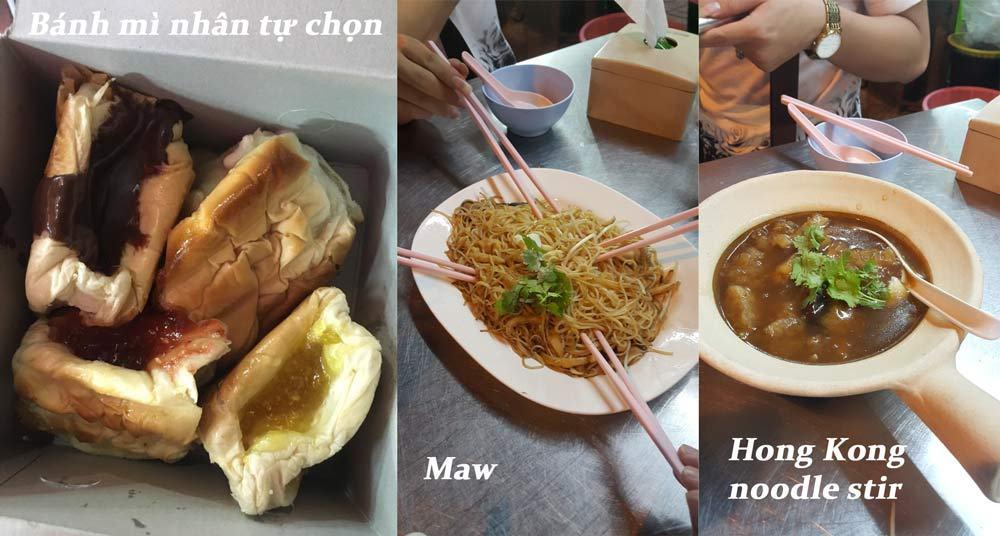 Mấy món này mình ăn trên China Town. Món bánh mì nhận tự chọn kia ngon cực, rất đông người mua, giá 20 bạt một cái. Món Maw giống như mì của mình, còn món Hong Kong noodle stir thì lạ lắm, chả biết mô tả thế nào