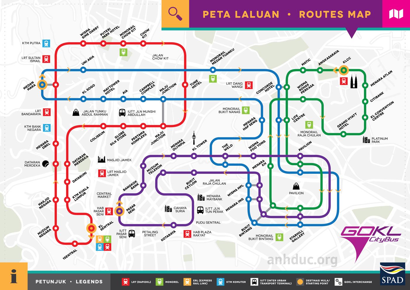 Bản đồ xe bus miến phí GOKL ở Kula Lumpur