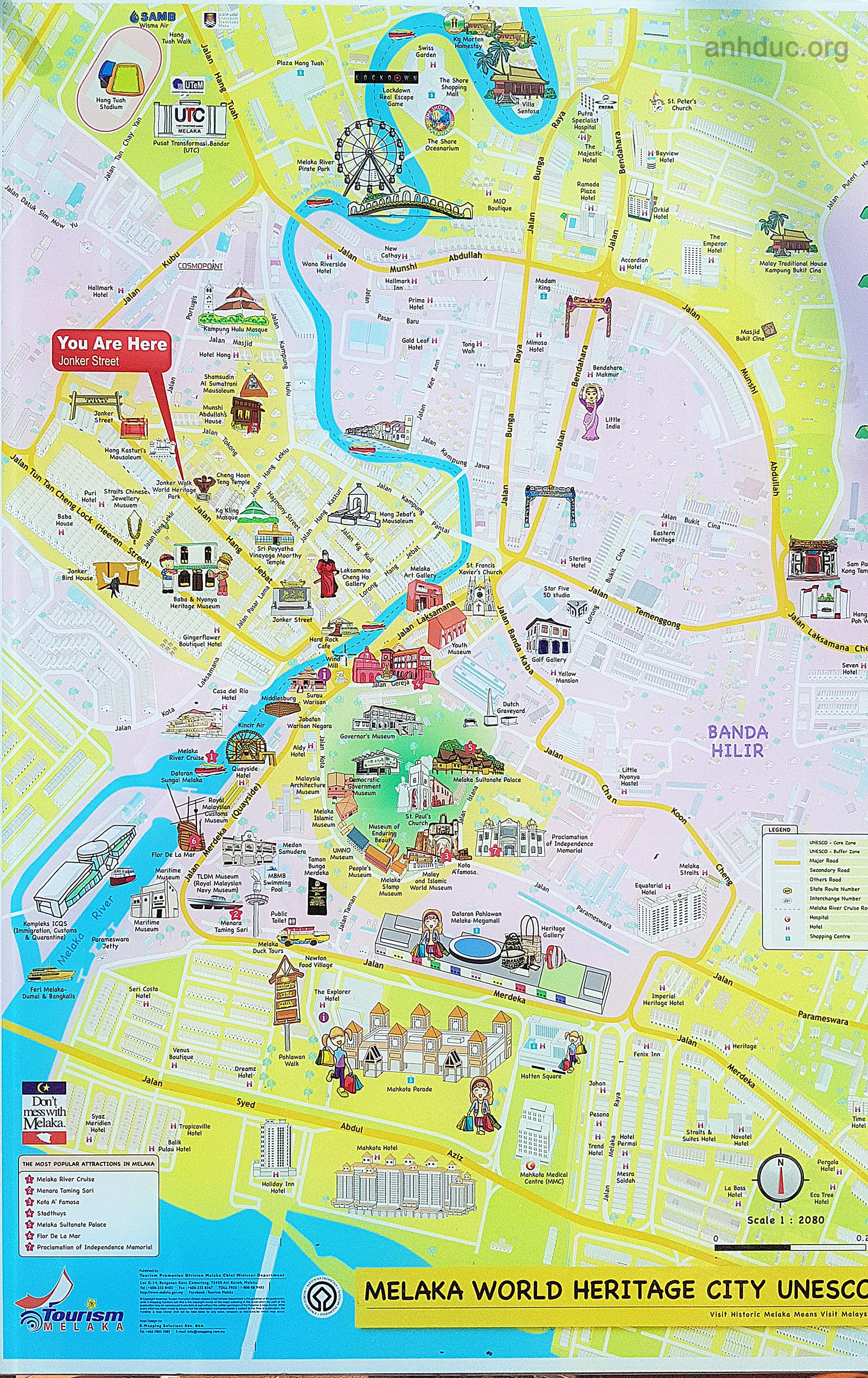 Malacca map tourist